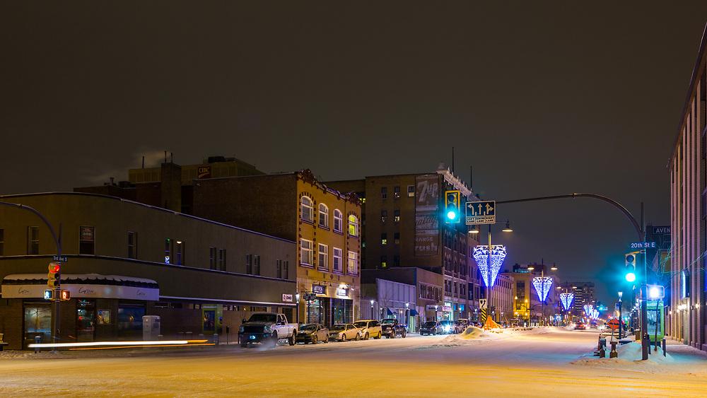 Downtown Saskatoon, winter night (Darrell Noakes)