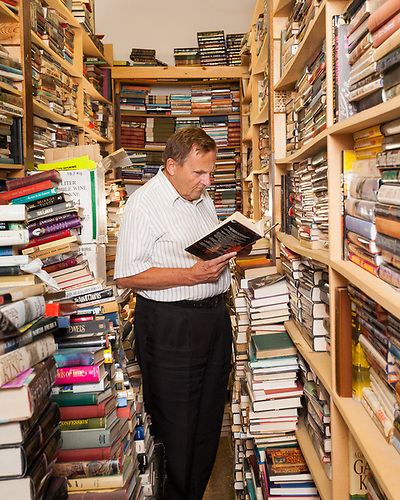 Ralph Crawford, proprietor of Crawford's Used Books, Perdue, Saskatchewan.