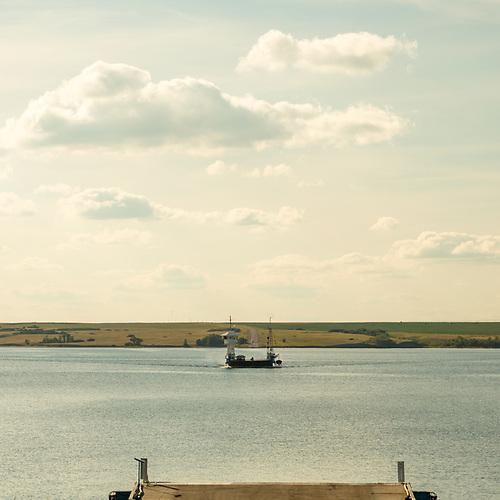 Riverhurst Ferry, Lake Diefenbaker, South Saskatchewan River, evening, dusk (Darrell Noakes)