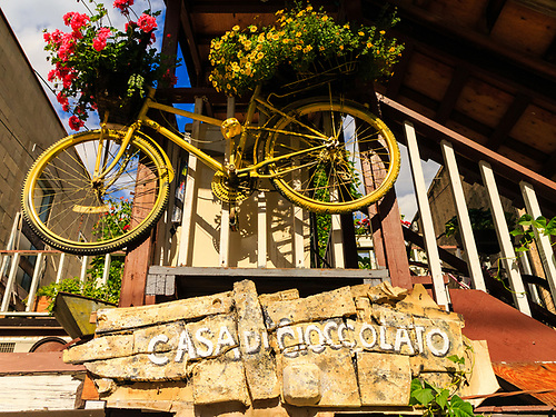 The Bike Alley is a whimsical exercise in community development from within, says its creator, Dan Haley, owner of Casa di Cioccolato in Trail, BC. The bicycles line the alley behind his chocolate and tea shop at 346 Bay Avenue. (Darrell Noakes)